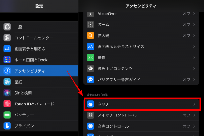 iPad アクセシビリティ