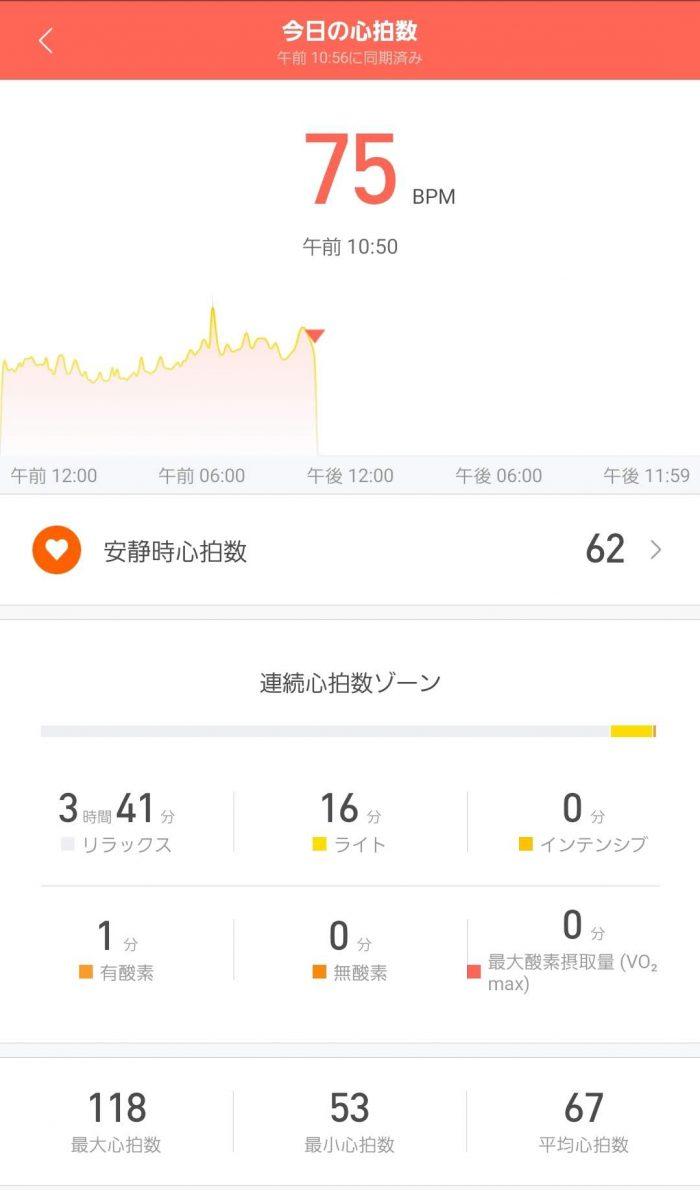 Xiaomi Mi band 4 心拍数