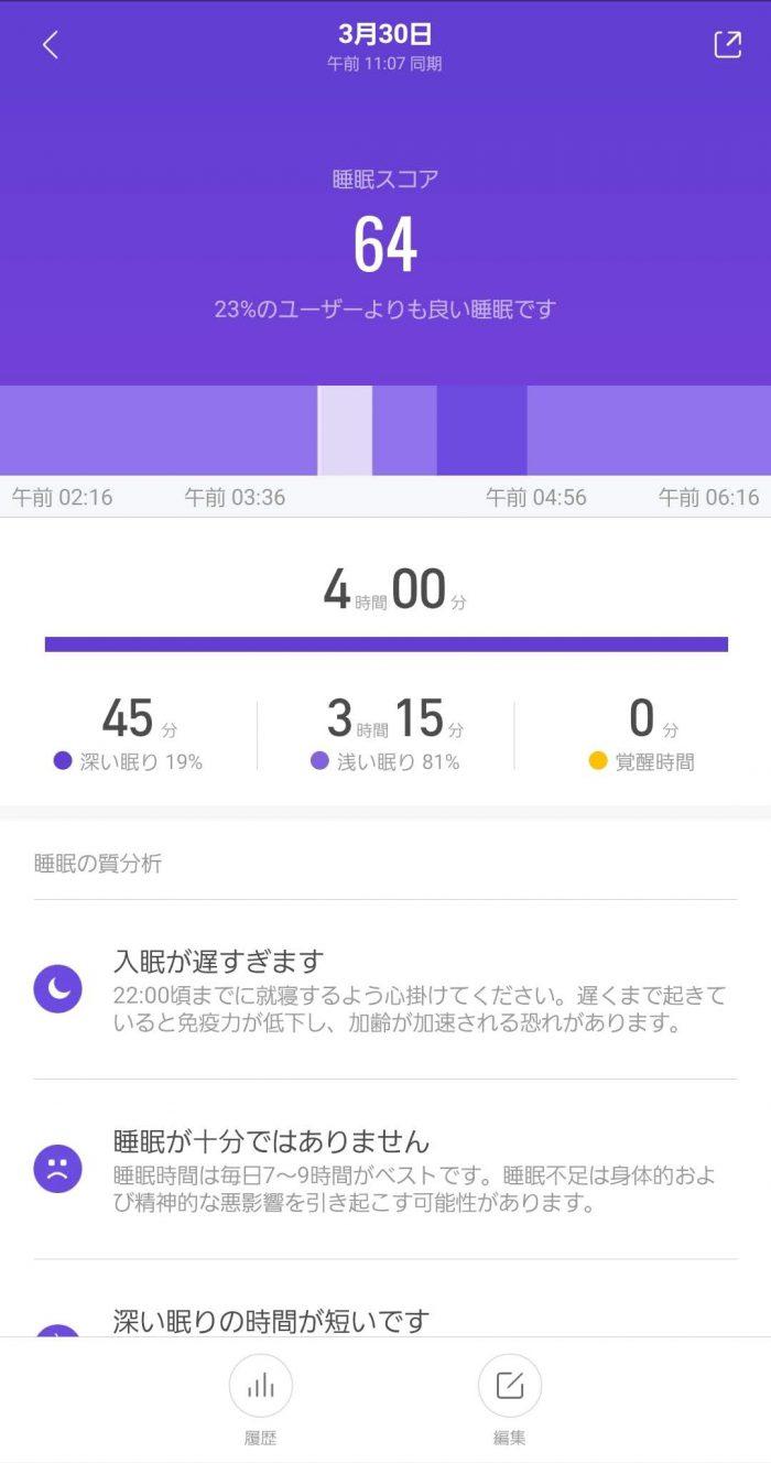 Xiaomi Mi band 4 睡眠スコア