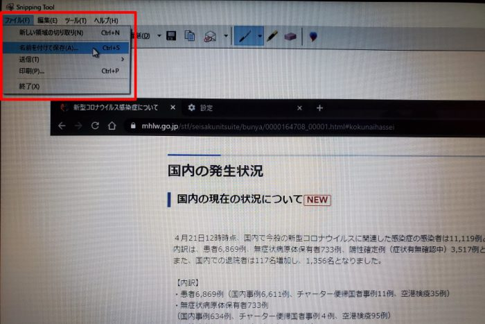 Snipping Tool  画像保存