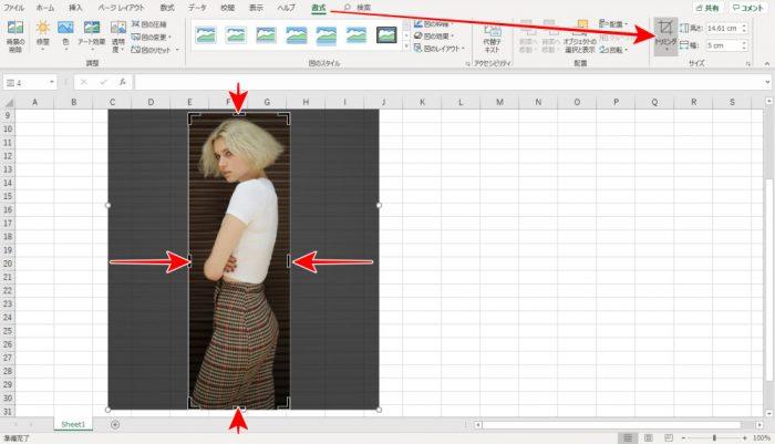 Excel 写真 トリミング